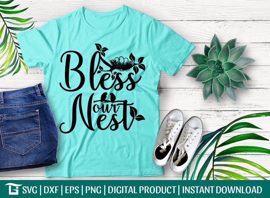 Bless Our Nest SVG | Bird House SVG | T-shirt Design