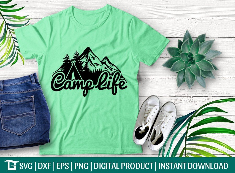 Camp Life SVG | Mountain | Forest | Pine Tree T-shirt Design
