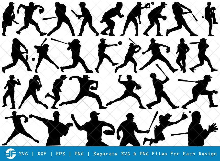 Baseball Player SVG Cut Files | Baseball Silhouette Bundle