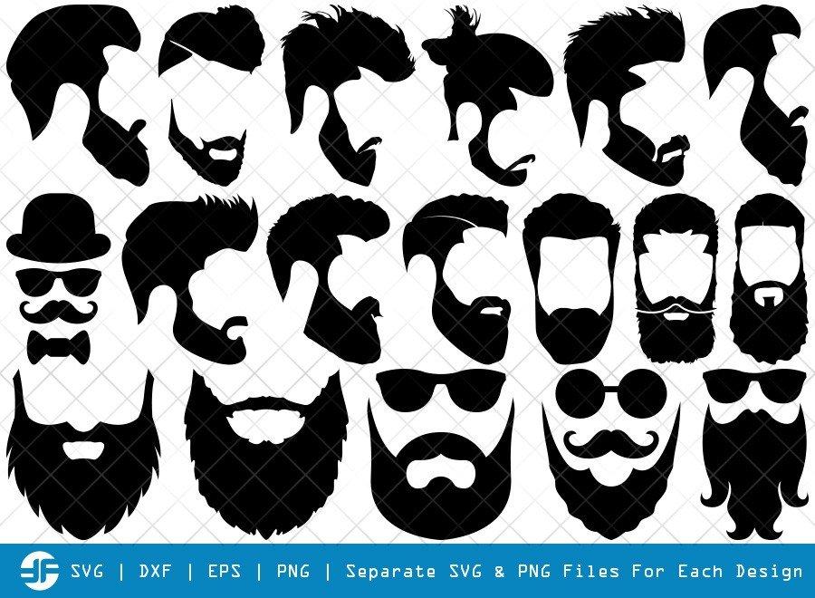 Beard SVG Cut Files | Beard Face Silhouette Bundle