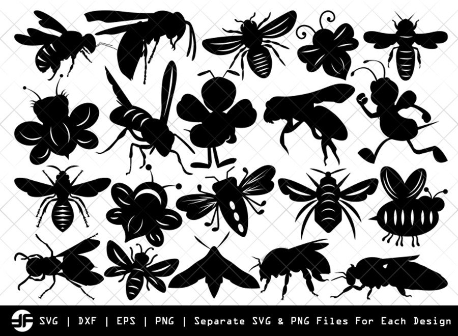 Bee SVG   Insect SVG   Silhouette Bundle   SVG Cut File