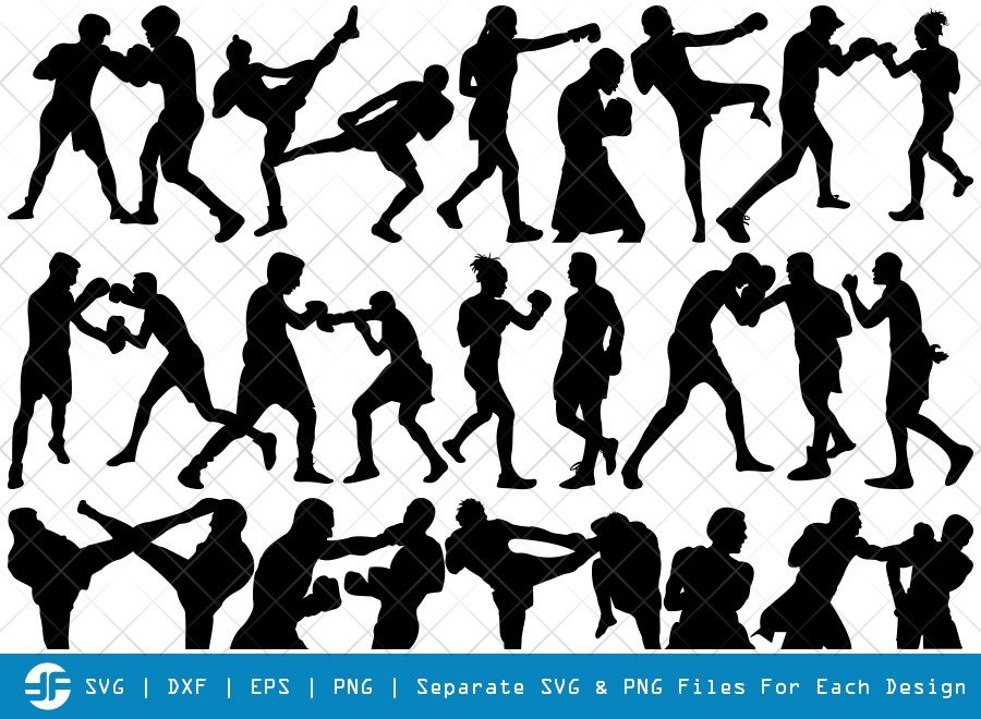 Boxing SVG Cut Files | Kickboxing Women Silhouette Bundle