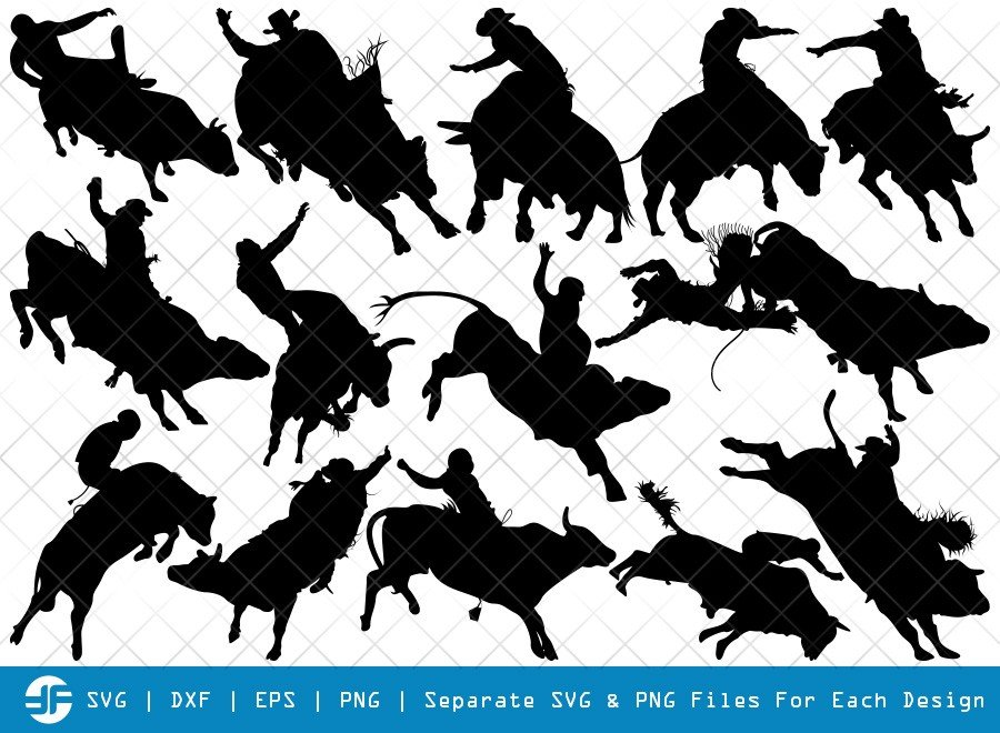 Bull Rider SVG Cut Files | Bull Riding Silhouette Bundle