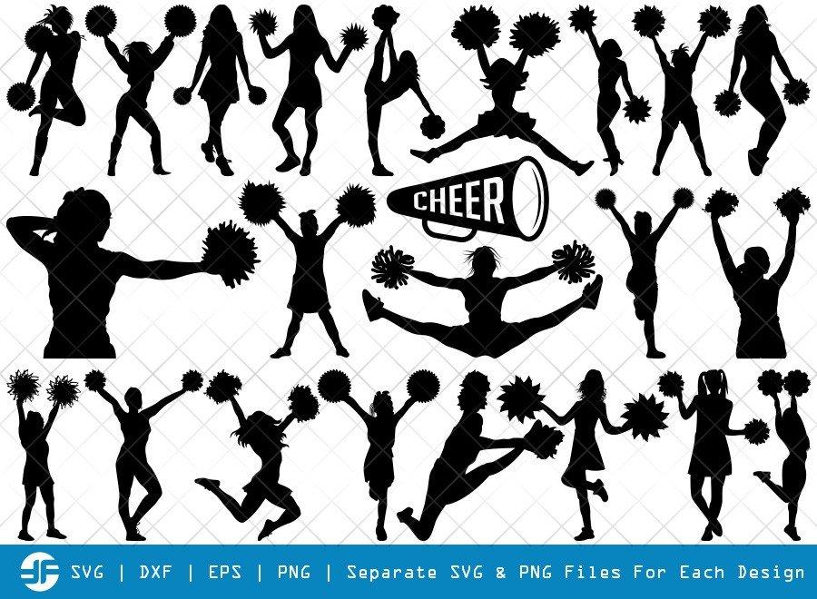 Cheerleader SVG Cut Files | Cheer Girls Silhouette Bundle