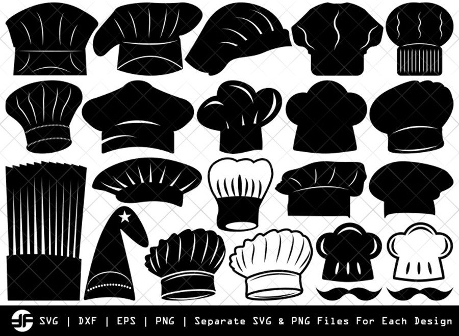 Chef Hat SVG | Chef Hat Silhouette Bundle | SVG Cut File
