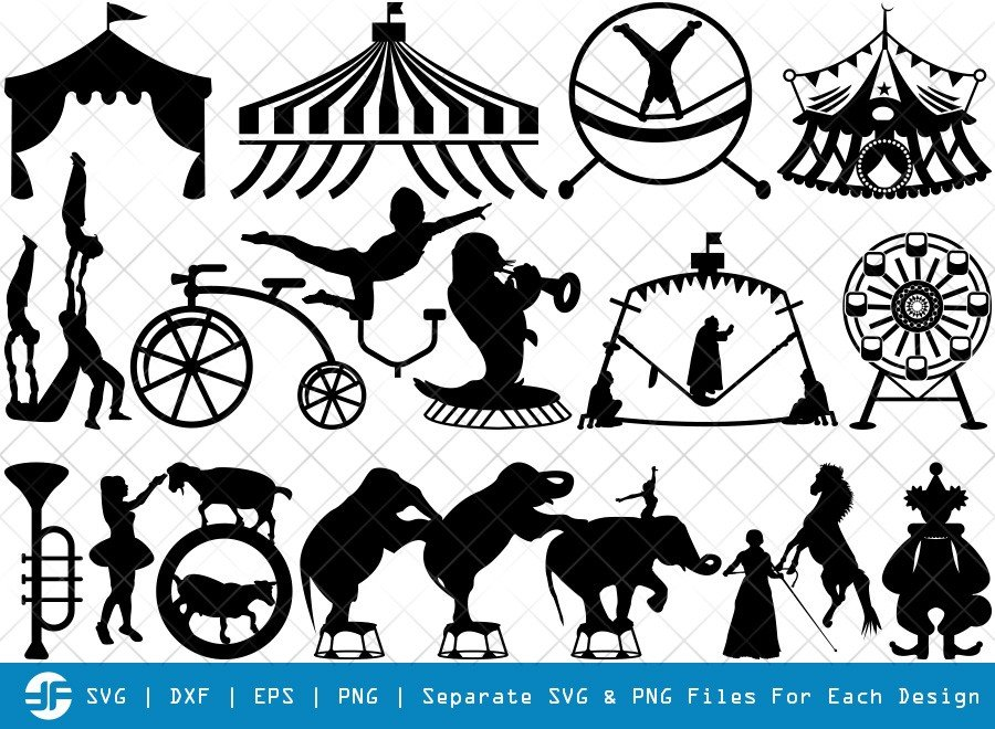 Circus Set SVG Cut Files | Carnival Silhouette Bundle