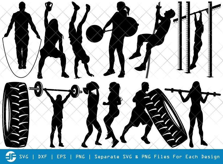 Cross Fit SVG Cut Files | Workout Silhouette Bundle