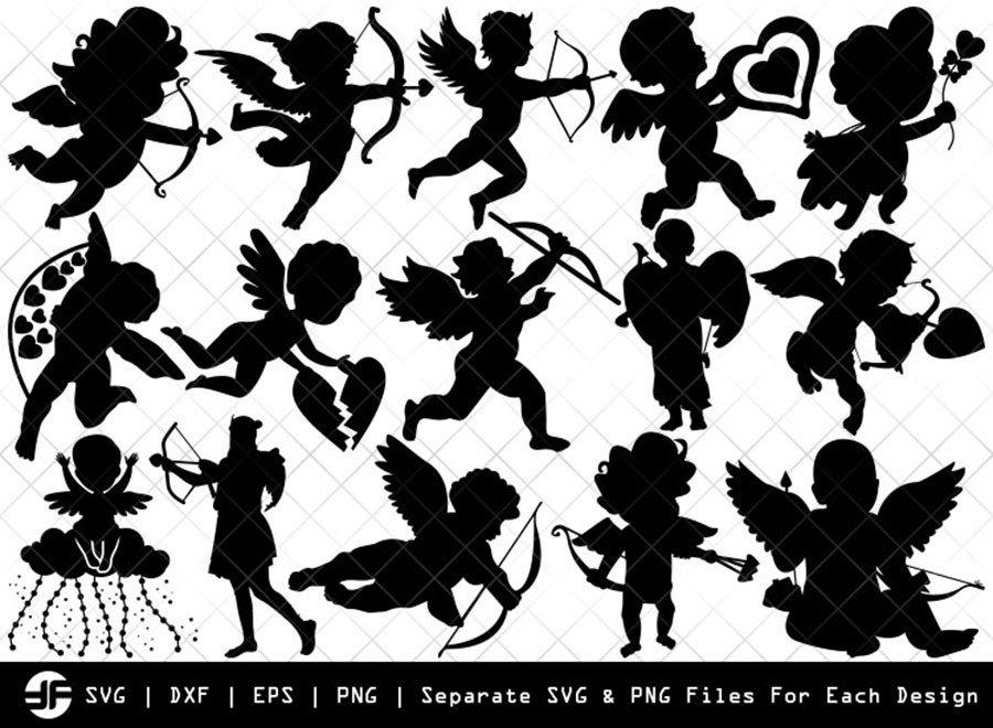 Cupid SVG   Angle SVG   Arrow Silhouette Bundle   Cut File