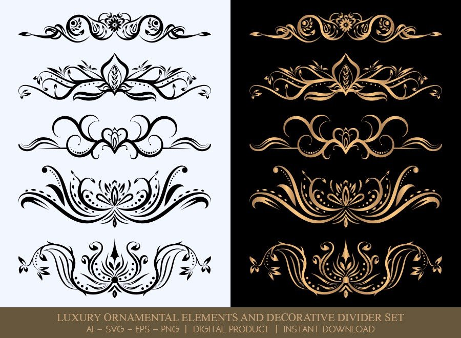 Luxury Decorative Divider Set SVG Cut Files   DDS006