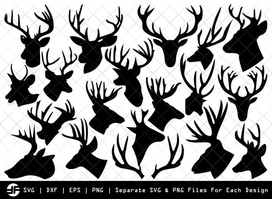 Deer Head SVG | Animal SVG | Silhouette Bundle | Cut File