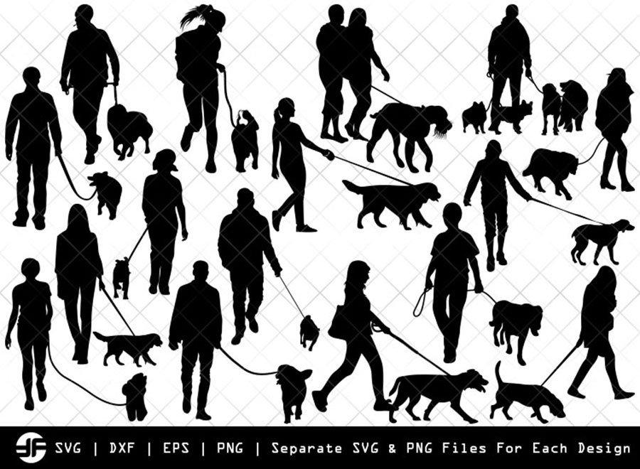 Dog Walker SVG   Silhouette Bundle   SVG Cut File