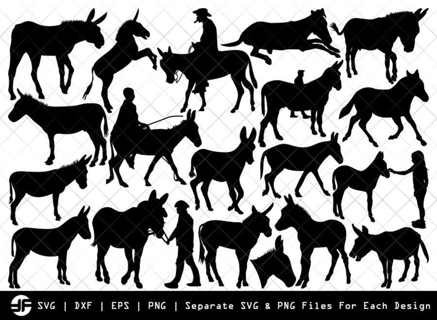 Donkey SVG   Animal SVG   Silhouette Bundle   SVG Cut File