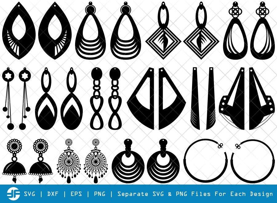 Earrings SVG Cut Files | Teardrop Earrings Silhouette Bundle