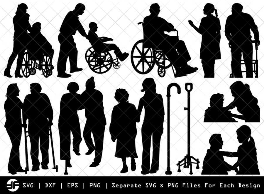 Elderly Care SVG | Silhouette Bundle | SVG Cut File