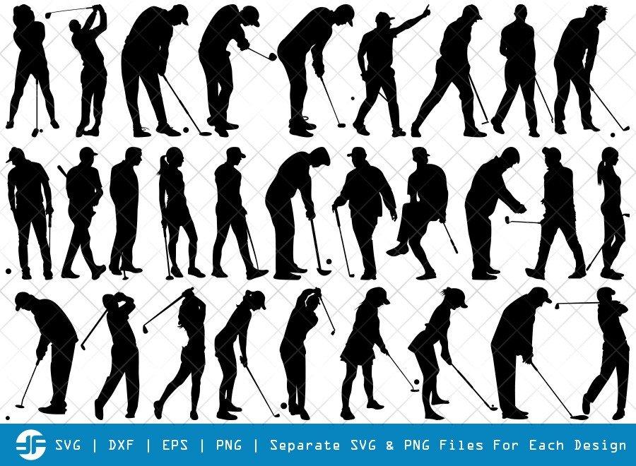 Golf Player SVG Cut Files | Golfer Silhouette Bundle