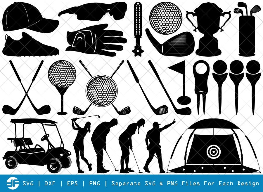 Golf Set SVG Cut Files | Golfing Silhouette Bundle