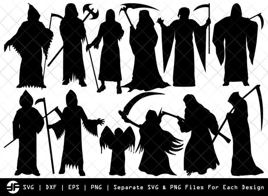 Grim Reaper SVG | Halloween | Silhouette Bundle | Cut File