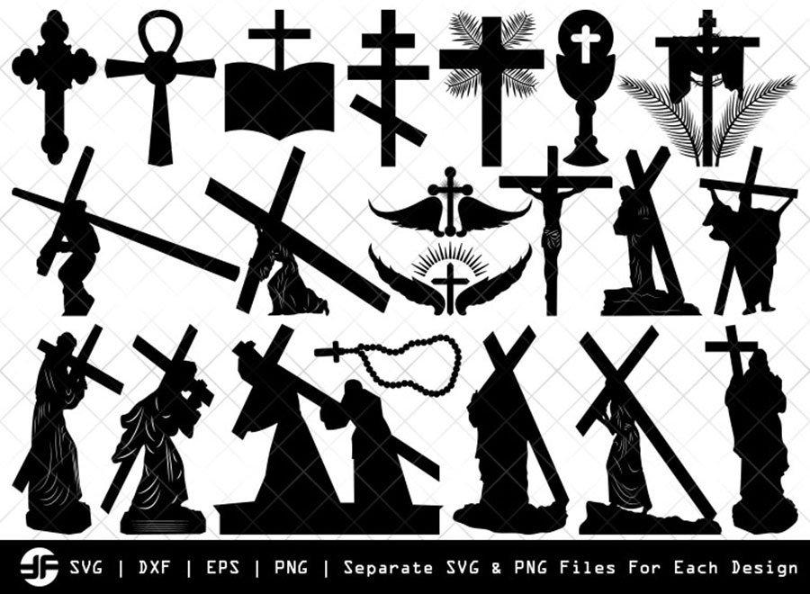 Jesus with Cross SVG | Christian Silhouette Bundle | Cut File