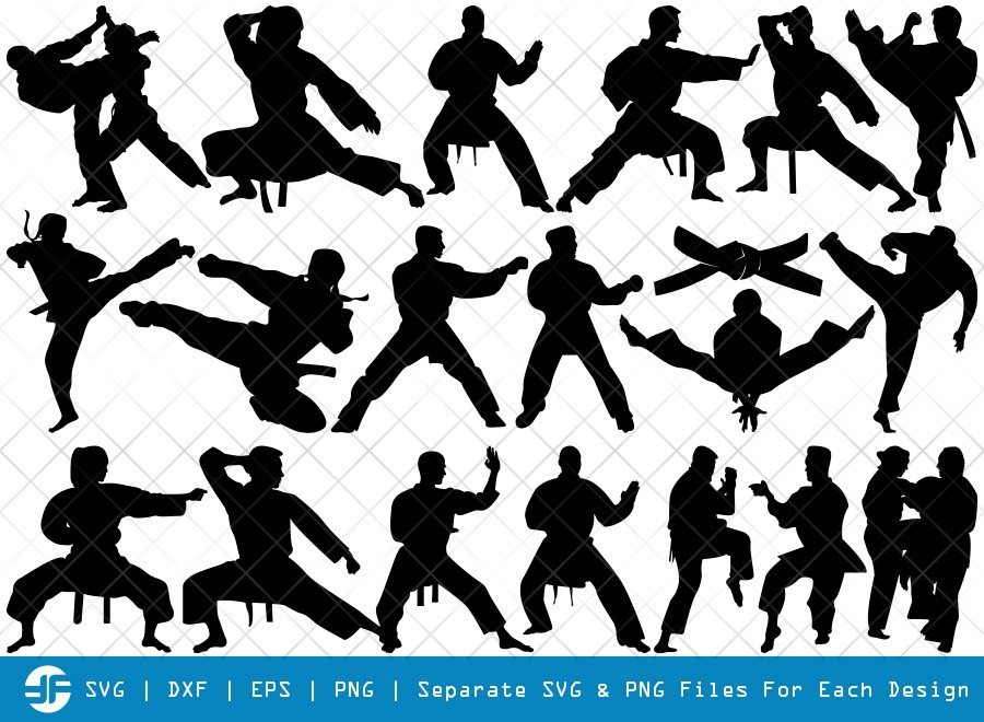 Karate SVG Cut Files | Martial Arts Silhouette Bundle