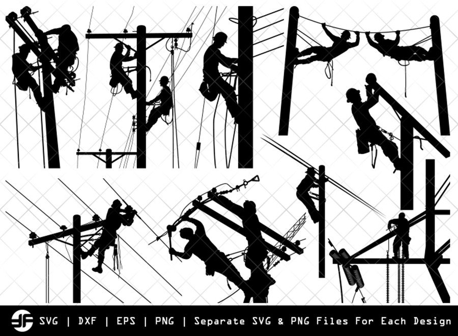 Lineman SVG | Lineman Silhouette Bundle | SVG Cut File