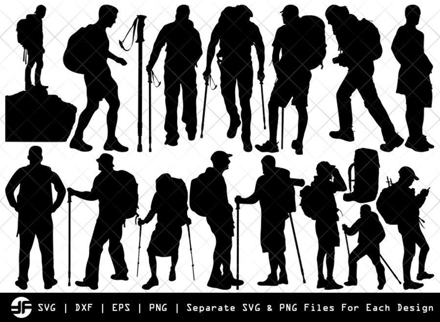 Male Hiker SVG | Silhouette Bundle | SVG Cut File