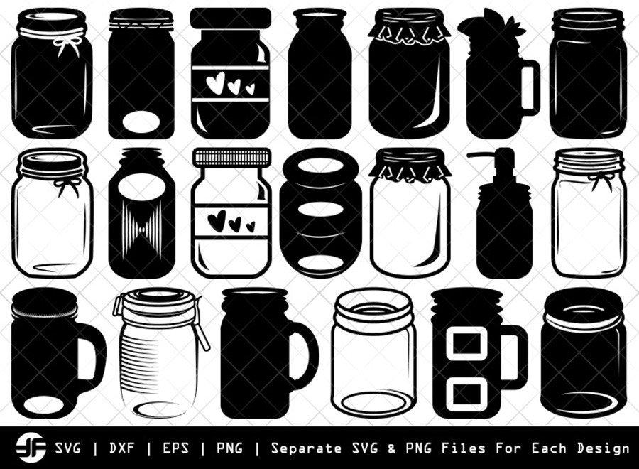 Mason Jars SVG   Silhouette Bundle   SVG Cut File