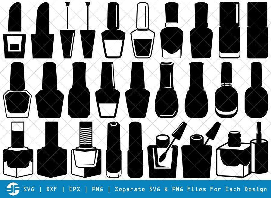 Nail Polish SVG Cut Files | Nail Polish Bottle Silhouette Bundle