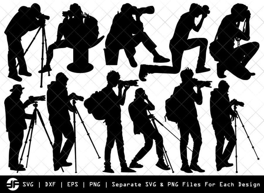 Photographer SVG Cut File | Cameramen Silhouette Bundle
