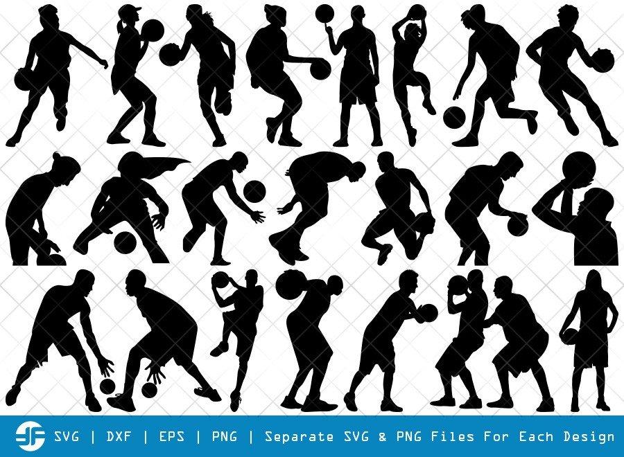 Playing Basketball SVG Cut Files | Sports Silhouette Bundle