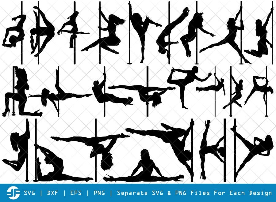 Pole Dancers SVG Cut Files | Sexy Woman Silhouette Bundle