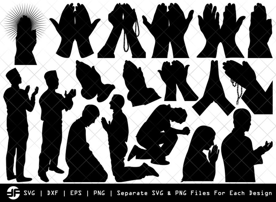 Praying Hand SVG | Faith Silhouette Bundle | SVG Cut File