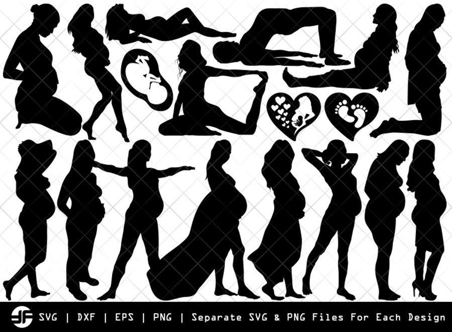Pregnant Woman SVG   Silhouette Bundle   SVG Cut File