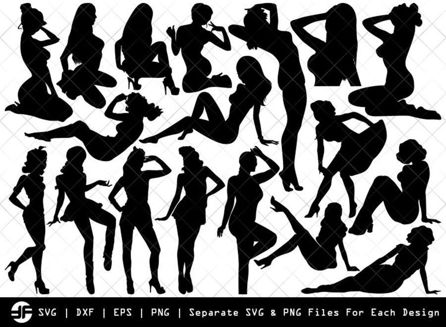 Retro Girl SVG   Retro Girl Silhouette Bundle   SVG Cut File