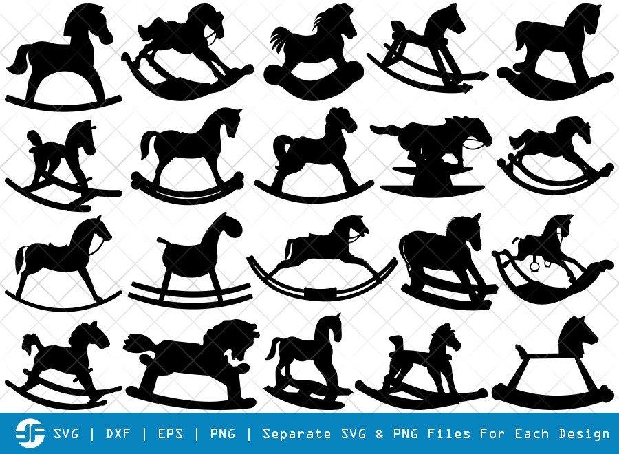 Rocking Horse SVG Cut Files   Little Horse Silhouette Bundle