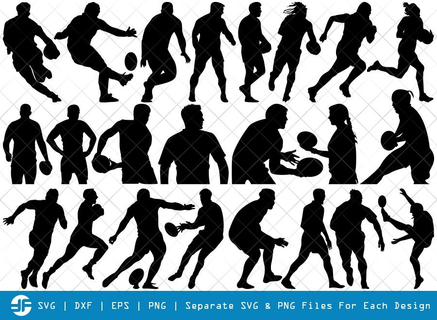 Rugby Player SVG Cut Files | Football Silhouette Bundle