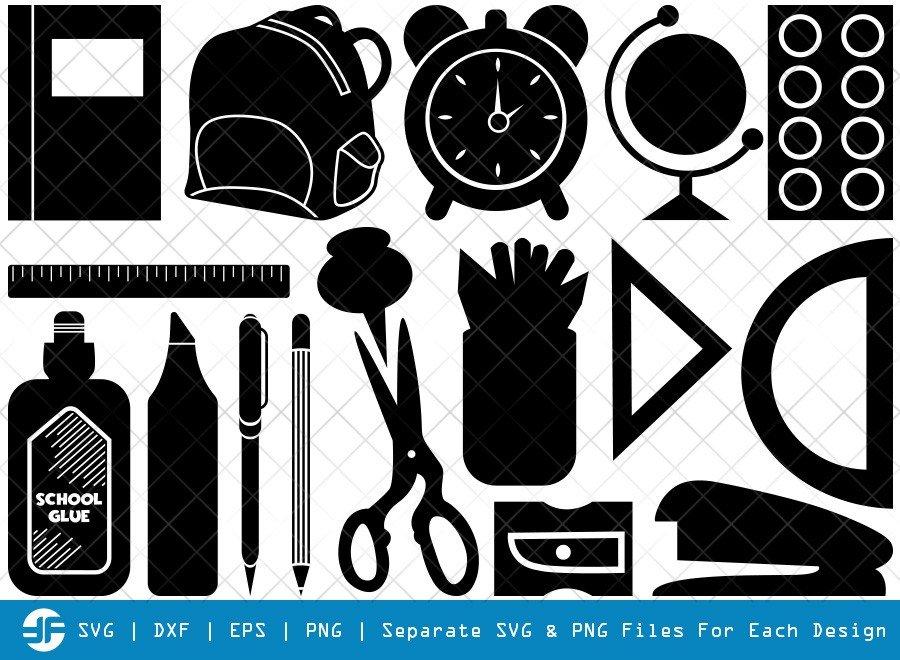 School Supplies SVG Cut Files   School Bag Silhouette Bundle