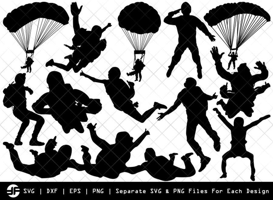 Sky Diving SVG   Sky Diving Silhouette Bundle   SVG Cut File