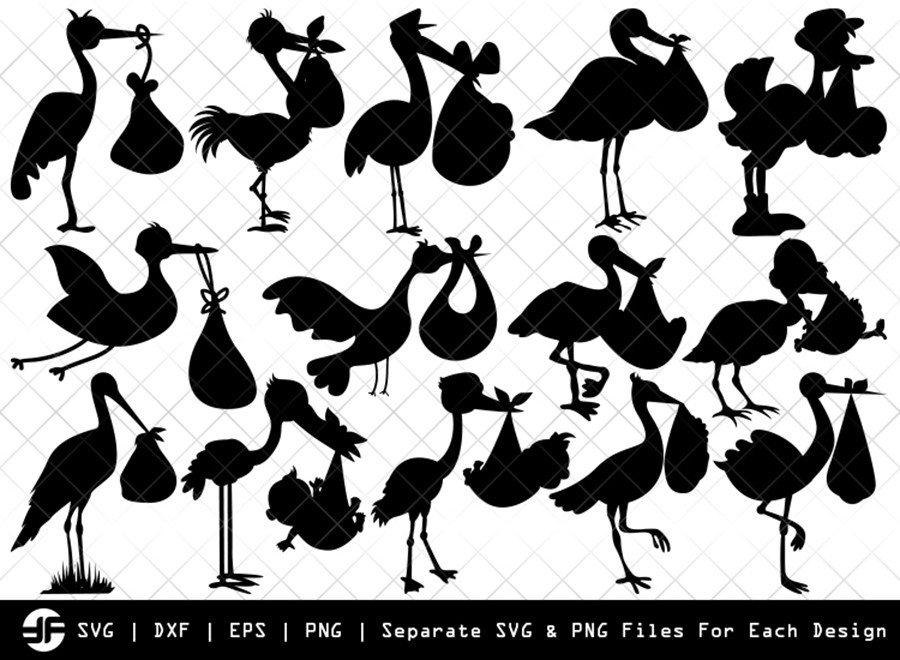 Stork Baby Shower SVG | Silhouette Bundle | SVG Cut File