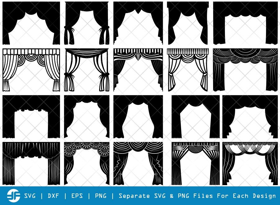 Theater Curtain SVG Cut Files | Curtain Silhouette Bundle