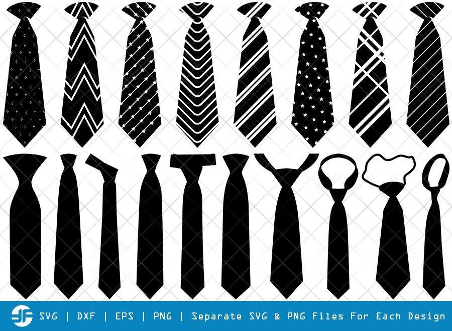 Tie SVG Cut Files | Mens Shirt Tie Silhouette Bundle