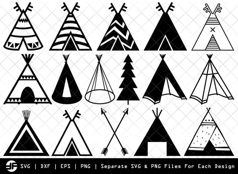 Tipi SVG | Teepee SVG | Silhouette Bundle | SVG Cut File