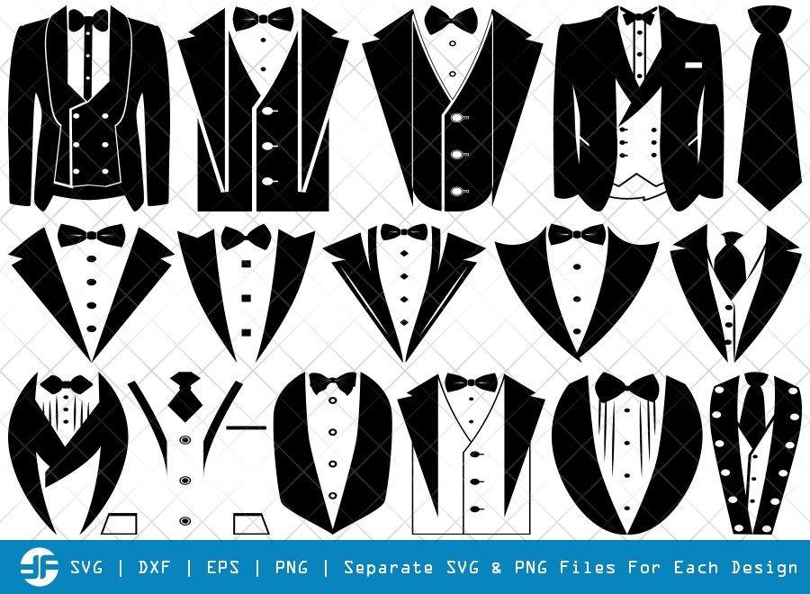 Tuxedo SVG Cut Files | Tuxedo Shirt Silhouette Bundle