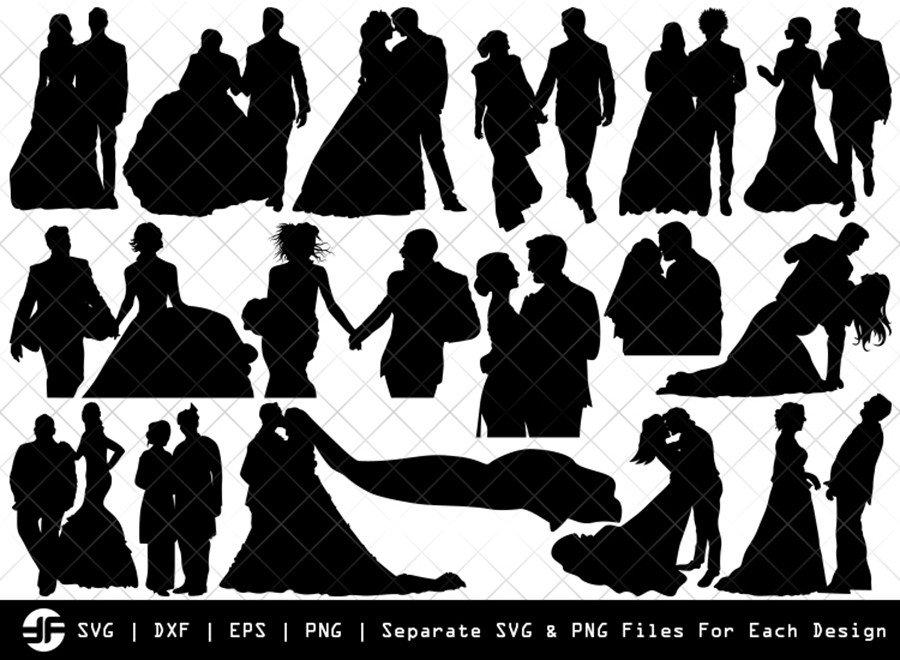 Wedding Couple SVG | Silhouette Bundle | SVG Cut File