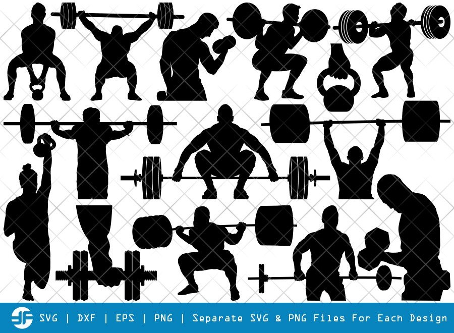Weight Lifting Man SVG Cut Files | Silhouette Bundle