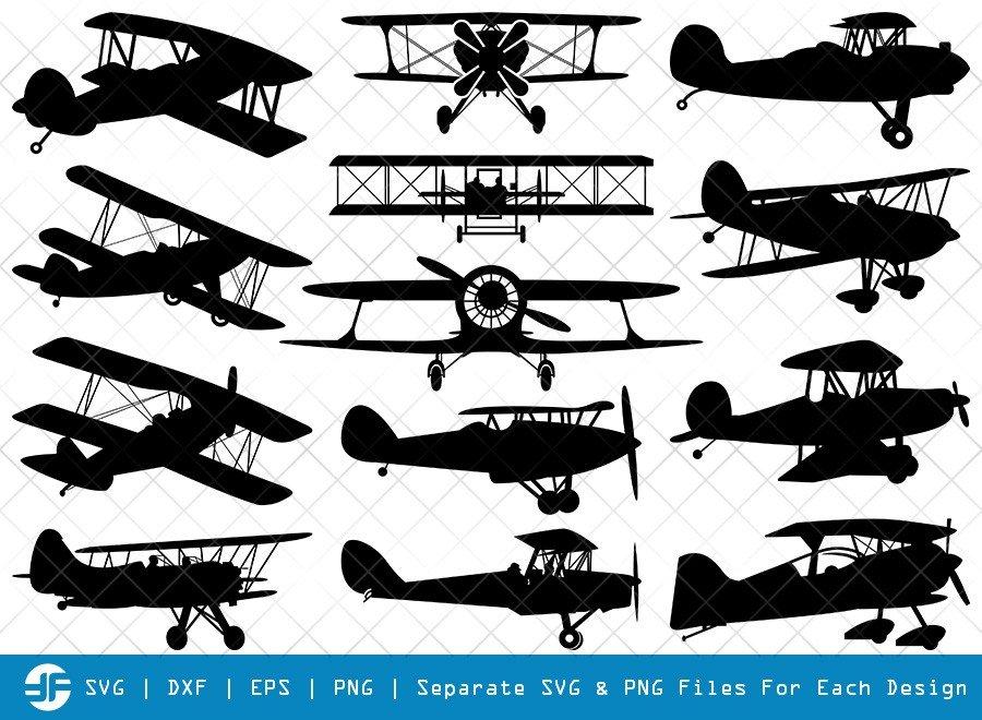 Biplane SVG Cut Files   Old Vintage Plane Silhouette Bundle
