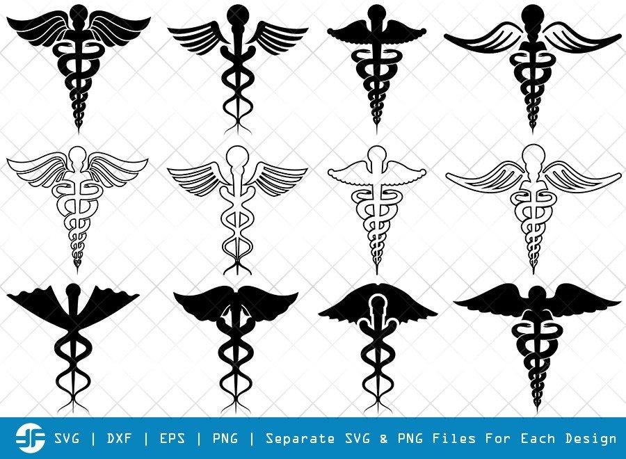 Caduceus Symbol SVG Cut Files | Caduceus Silhouette
