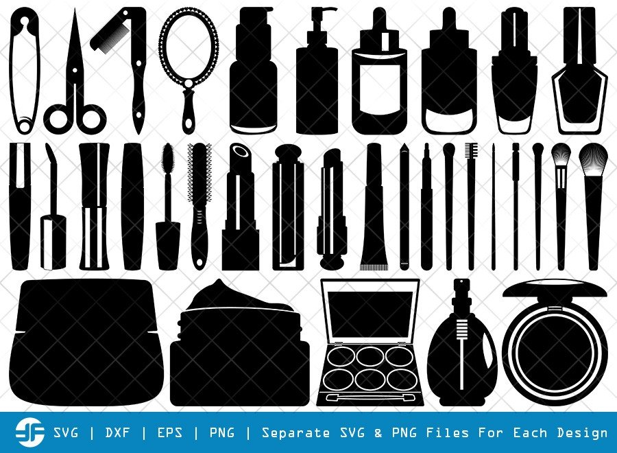 Cosmetics Bundle SVG Cut Files | Beauty Tools Silhouette