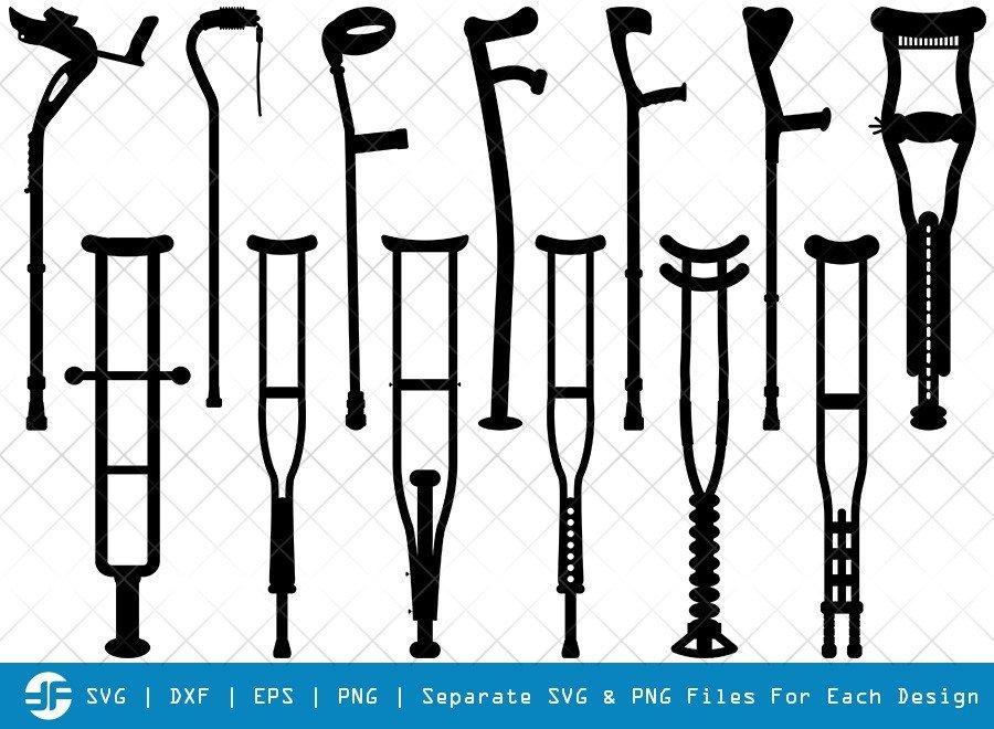 Crutches SVG Cut Files   Walking Crutch Silhouette Bundle