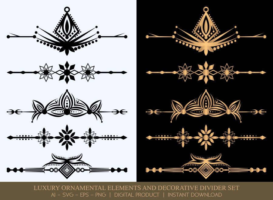 Luxury Decorative Divider Set SVG Cut Files | DDS052