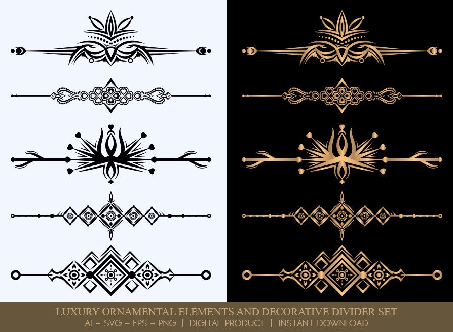 Luxury Decorative Divider Set SVG Cut Files | DDS053
